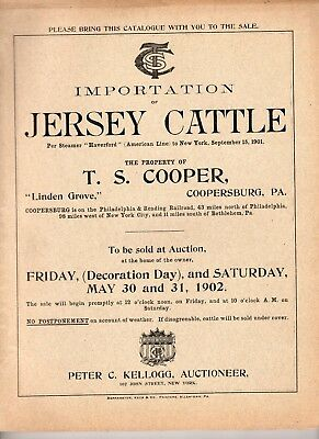 Large 1902 T.S. Cooper, Pennsylvania Jersey Cattle Auction Catalog