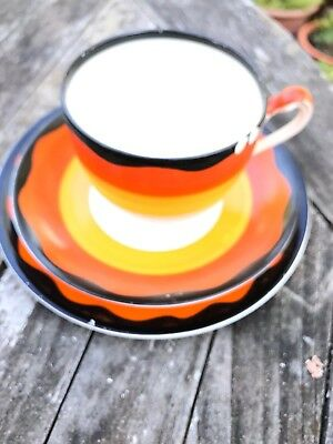 Gray's Pottery 1930's Art Deco Banded Trio Black/orange hand painted Spare Side