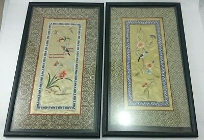ANTIQUE CHINESE EMBRIODERY SILK Panel Pair Floral Asian 1920's Forbidden Stitch