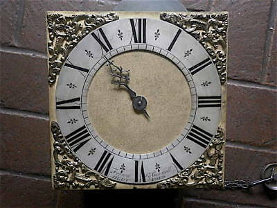 10X10 inch 30hr c1750 LONGCASE   CLOCK dial + movement  FERRON BURCHELL   OF HAR