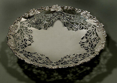 "English Sterling Silver Tazza       CAKE STAND   1944  "" GRAPE & LEAF """