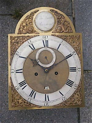 12X16+1/2 inch 8DAY c1750 LONGCASE   CLOCK dial + movement  by Edward Smith of R