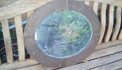 arts and crafts hammered copper mirror