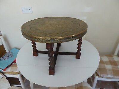 Antique brass (?) topped folding side/occasional table Indian (?)