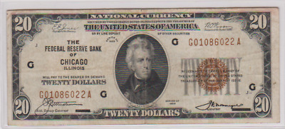 1929 ~~ $20 National Currency ~~ Chicago, Il. ~~ Vf+