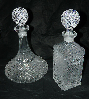 Fabulous Pair of French Lead Crystal Decanters    by    Cristal d'Arques