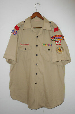 BOY SCOUTS Of America UNIFORM Shirt #46 w/ Patches Scout Adult Mens USA : XL