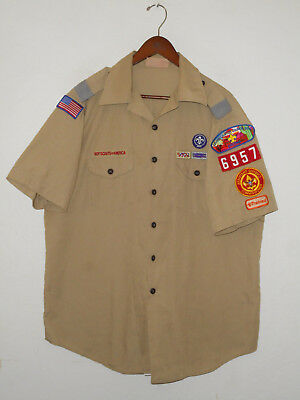 BOY SCOUTS Of America UNIFORM Shirt #6957 SEWN Patches Scout Adult Mens USA : XL
