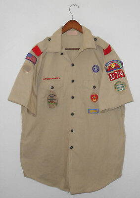 BOY SCOUTS Of America UNIFORM Shirt #174 w/ Patches Scout Adult Mens USA : XL