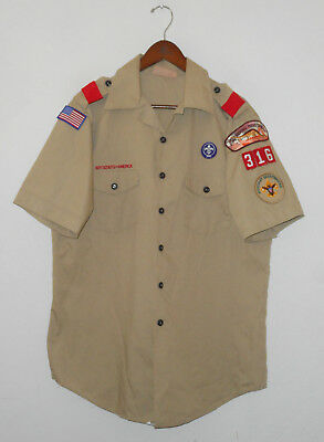 BOY SCOUTS Of America UNIFORM Shirt #316 SEWN Patches Scout Adult Mens : LG