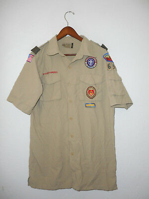 BOY SCOUTS Of America UNIFORM Shirt #654 Nylon w/ Patches Scout Adult Mens : MD