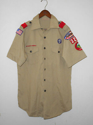 BOY SCOUTS Of America UNIFORM Shirt #327 SEWN Patches Scout Adult USA Mens : MD