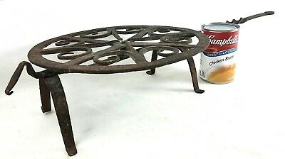 """Antique HAND FORGED Iron WHIRLING BROILER TRIVET w Rotating 8"""" GRILL c 1810"""