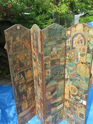 Antique Victorian Faux Leather 4-Panel Scrap Screen Privacy Screen 3-Panel