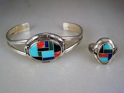 Carolyn Pollack RELIOS SOUTHWESTERN STERLING SILVER MOSAIC INLAY BRACELET & RING