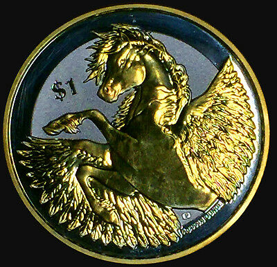 2018 BVI 1 oz Silver Ounce Pegasus Reverse Frosted Proof-like BU 24k Gold Gild