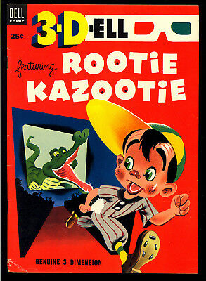 3-D-Ell featuring Rootie Kazootie #1 Very Nice Dell File Copy Comic 1953 FN