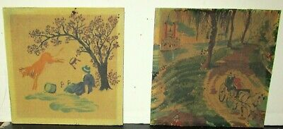 Pair Of Old American Folk River Boat Watercolor On Sand Panel Painting Unsigned