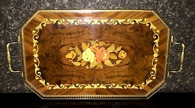 Edwardian Mahogany & Brass Serving Tray with an exquisite inlay floral design