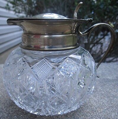 Antique Bulbous Cut Crystal Syrup Pitcher Jug Gorham Sterling Silver Top Handle