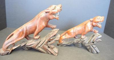 Pair of Vintage or Antique Chinese Carved Hardwood Tigers