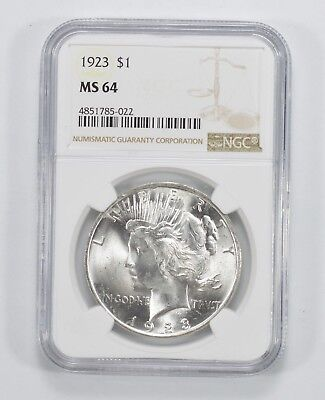 1923 Peace Silver Dollar - MS-64 - NGC Authenticated and Graded *575