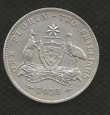 1913 Florin - *george V* - Centre Diamond - About Very Fine Condition