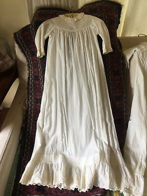 "Fine cotton lawn hand-sewn antique baby christening gown 36"" long 100 years old"