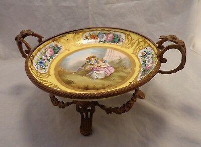 Antique French SEVRES Hand Painted Jaune Yellow Porcelain Tazza Centerpiece Bowl