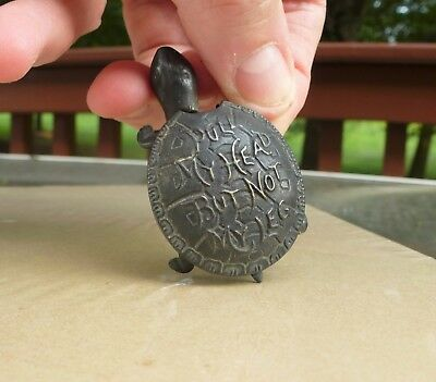 Antique Victorian Brass Turtle Tape Measure - Pull My Head But Not My Leg