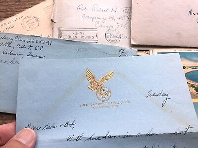 Lot @ 26 WW2 Letters Cards V Mail 387 BOMB GROUP Camp Wheeler GA US Army WWII