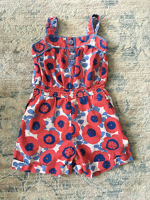 Mini Boden Little Girl Red & Blue Floral Shorts Romper Size 4 - 5