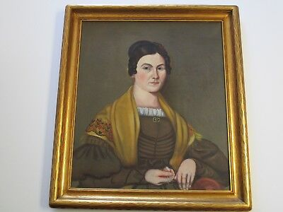 Antique Early American 19Th Century Portrait Painting Estate Female Woman Model