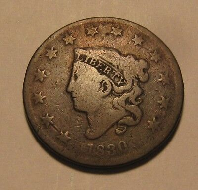1830 Coronet Head Large Cent Penny - Circulated Condition - 71SU