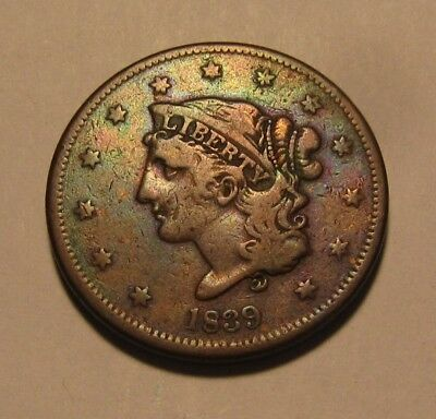 1839 Booby Head Large Cent Penny - NICE Condition - 79SU
