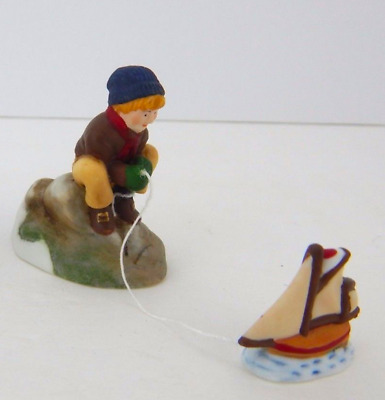 Dept 56 New England Village - Seacaptain & His Mates 56587 Boy W/ Toy Boat New