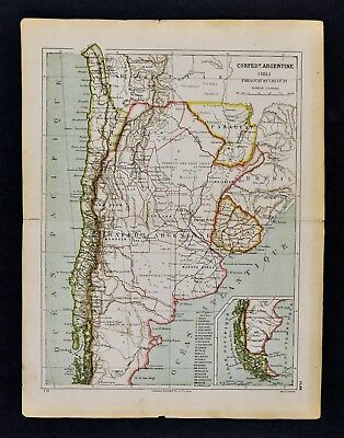 1885 Cortambert Map Argentina Chili Uruguay Paraguay Buenos Aires South America