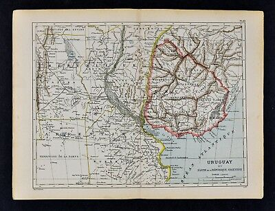 1885 Cortambert Map - Uruguay Montevideo Argentina Buenos Aires - South America