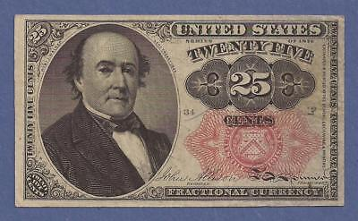 1874-1876 5th Issue 25¢ Fractional Currency,FR1308,Walker Bust,CH Crisp VF,Nice!