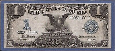 1899 $1 Silver Certificate Black Eagle,Large Blue Seal,circulated VF,Nice!