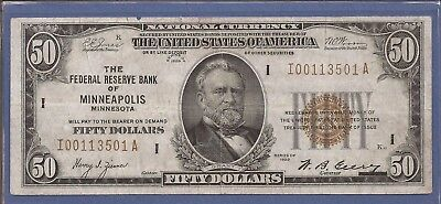 1929 $50 FRBN,National Currency,Federal Reserve Bank of Minneapolis,VF,Nice!