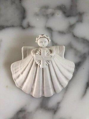 "Margaret Furlong 3 inch 3"" Cross Angel Ornament Porcelain Shell"