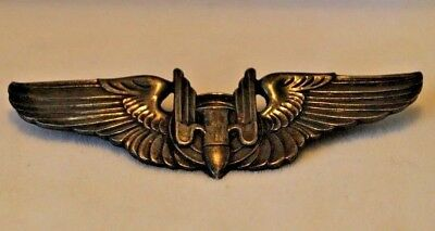 WWII US Military Sterling Silver Air Pilot Bomber Gunner Wing Pin Original 3""