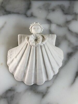 Margaret Furlong 1996 Shell Angel Morning Glory Christmas Porcelain Ornament 3""