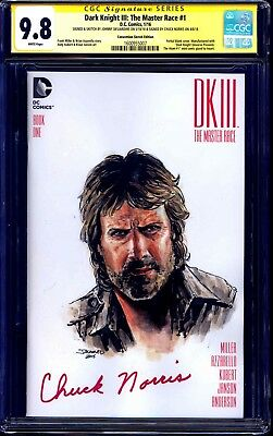 DKIII #1 CONVENTION BLANK CGC SS 9.8 ORIGINAL PAINTED SKETCH signed Chuck Norris