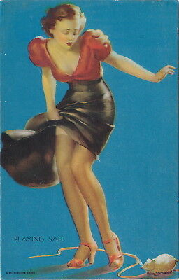 PIN-UP GIRL 2 1920s-1930s Antique Arcade Style Postcard THEME WOMAN SEXY BEAUTY!