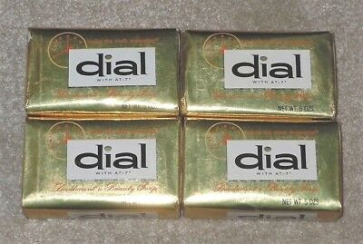 Vtg 4 Gold Foil Dial AT-7 Deodorant Beauty Soap Lot 5oz Sealed Pkg Bath Size Bar