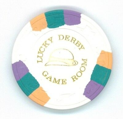 """Lucky Derby Game Room """"$100.00"""" version hot stamp California casino chip"""