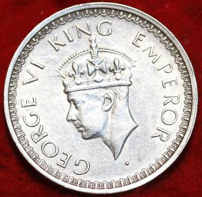 1944 British India Silver 1/2 Rupee Foreign Coin