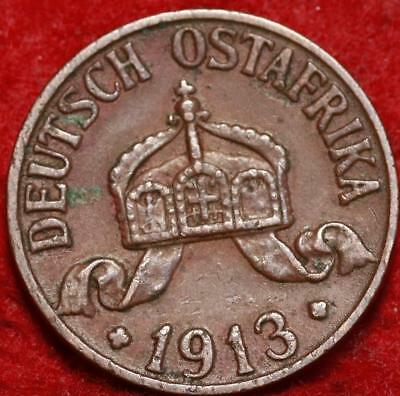 1913A German East Africa 1 Heller Foreign Coin